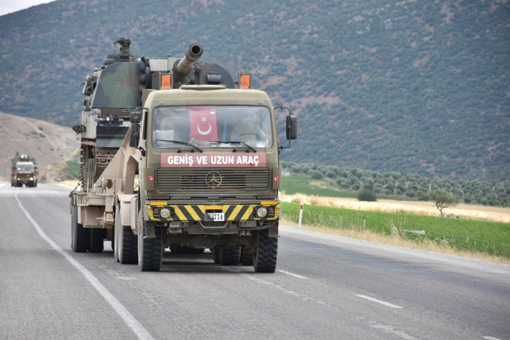 Turkish military vehicles on a road in Afrin. Turkish officials held talks in Tehran in mid-July with Iranian and Russian authorities regarding the Afrin operation.