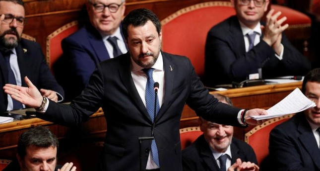 Leader of Italy's far-right party Matteo Salvini gestures at the Senate, Rome, Feb. 12, 2020. REUTERS Photo