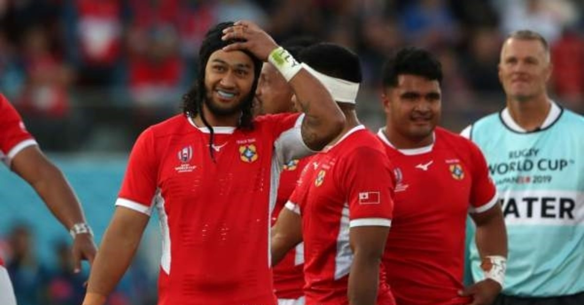 Tonga's flanker Zane Kapeli (L) reacts after the match against the United States, Oct. 13, 2019. (AFP Photo)