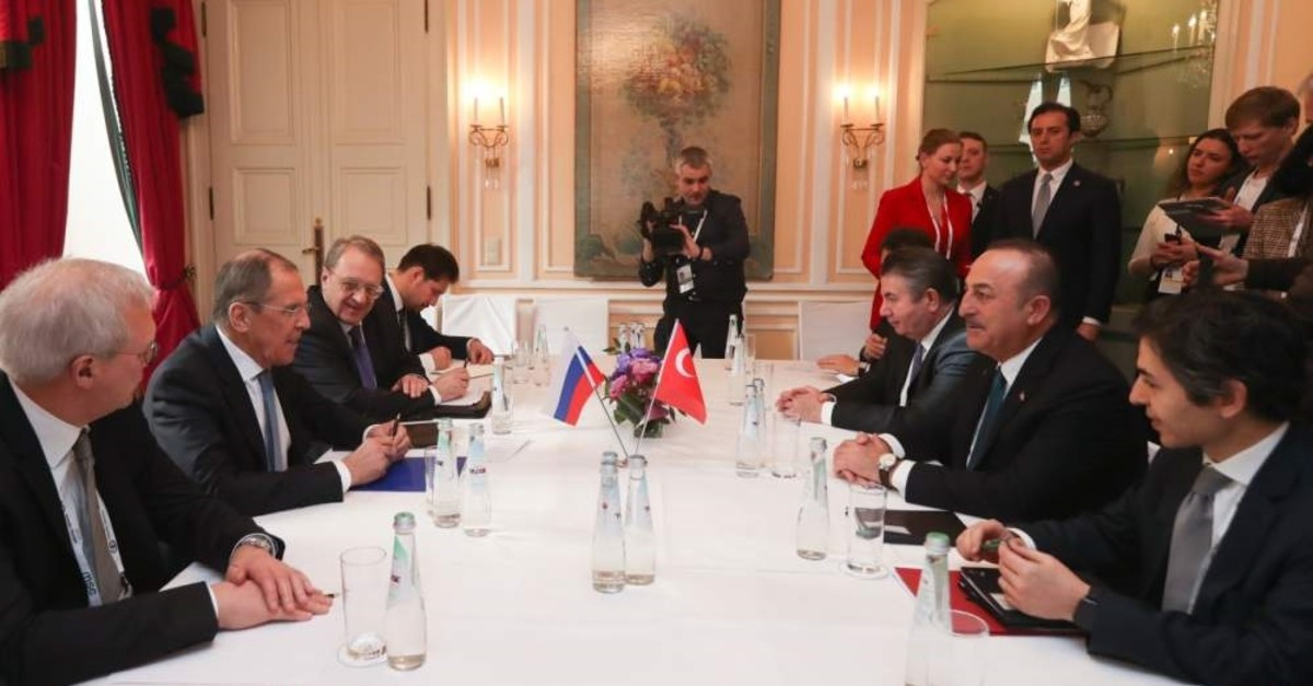 Foreign Minister Mevlu00fct u00c7avuu015fou011flu and Russian counterpart Sergey Lavrov hold a meeting on Idlib on the sidelines of the 56th Munich Security Conference in Germany, Feb. 15, 2020. (AA Photo)