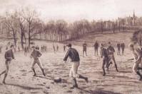 Diese Zeichnung von einem unbekannten Künstler zeigt Fußball spielende Männer im England des 19. Jahrhunderts.