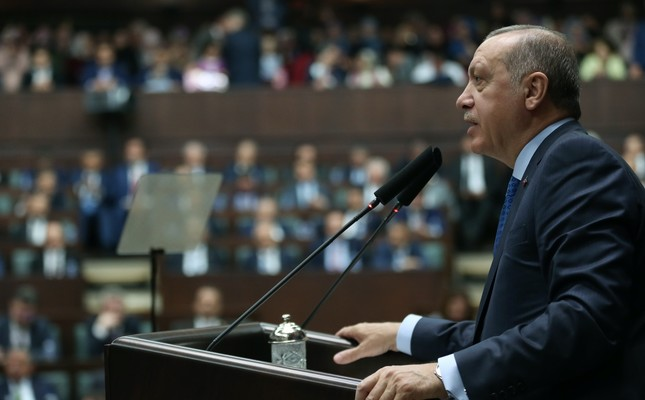 President Recep Tayyip Erdoğan delivers a speech during the AK Party's parliamentary group meeting at Parliament, April 10.