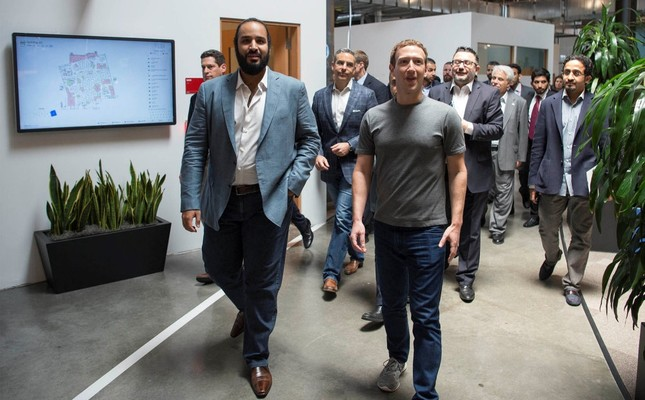 Saudi Arabia's Deputy Crown Prince Mohammed bin Salman (L) walks with Facebook CEO Mark Zuckerberg at the tech giant's headquarters in Silicon Valley.