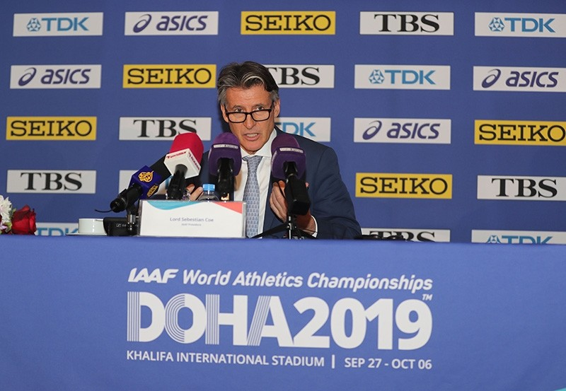 International Association of Athletics Federations (IAAF) President Sebastian Coe speaks during IAAF World Athletics Championships Doha 2019 Official Press Conference in Qatar's capital  Doha on Nov. 11, 2018. (AFP Photo)