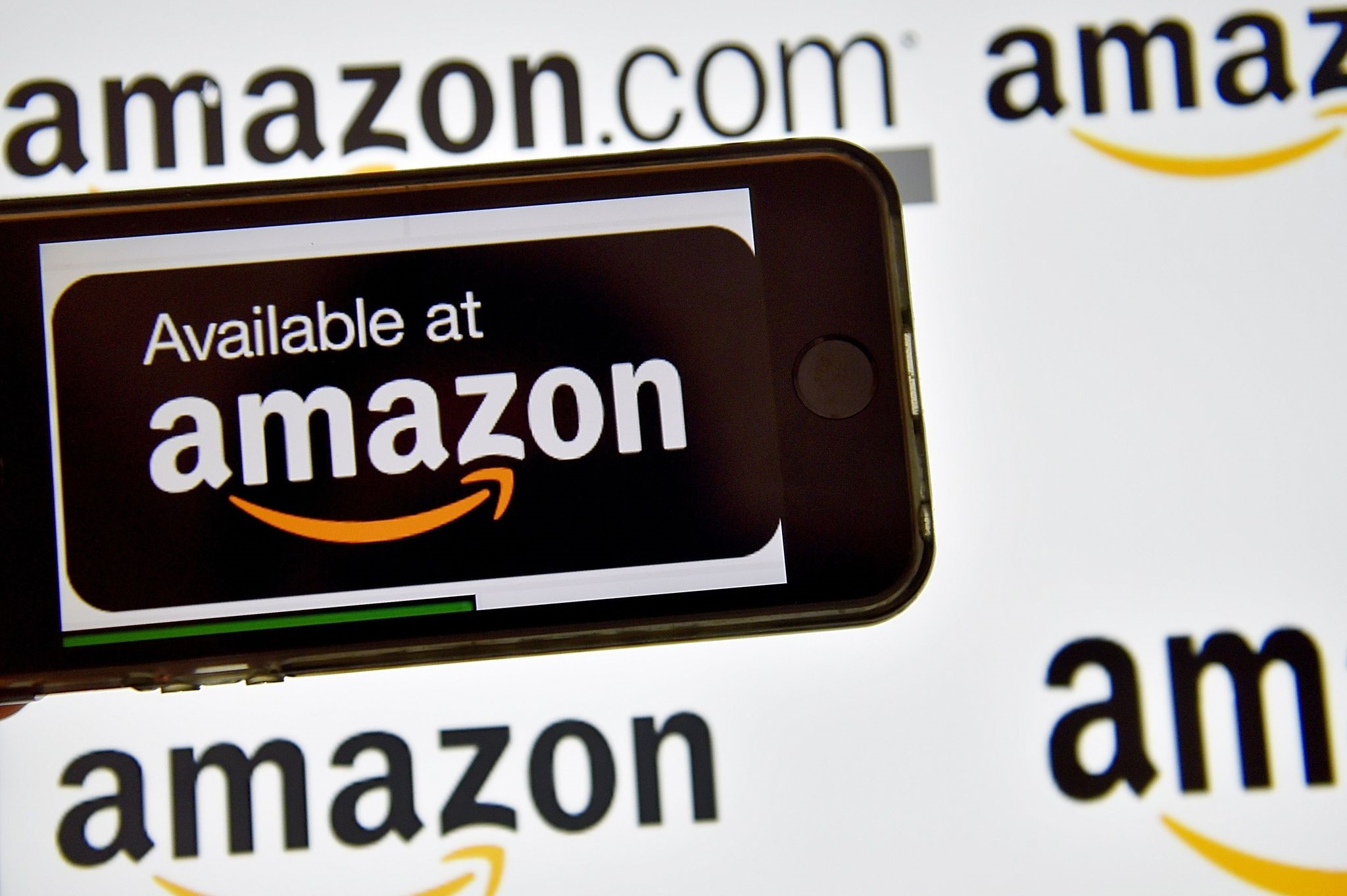 This file photo shows the logo of U.S. electronic commerce and cloud computing company Amazon (AFP File Photo)