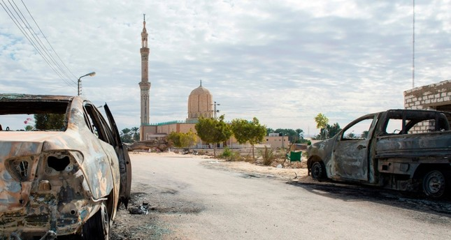 This Nov. 25, 2017, file photo, shows the Rawda Mosque, roughly 40 kilometers west El-Arish in northern Sinai Peninsula, Egypt, after a gun and bombing attack. (AFP Photo)