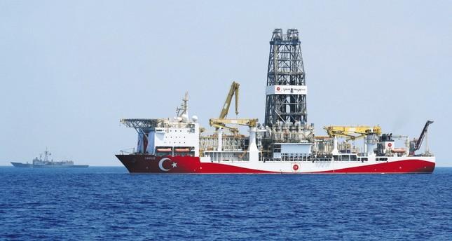 Turkish drilling vessel Yavuz is escorted by Turkish Navy frigate TCG Gemlik (F-492) in the Eastern Mediterranean Sea off the island of Cyprus, Aug. 6, 2019.