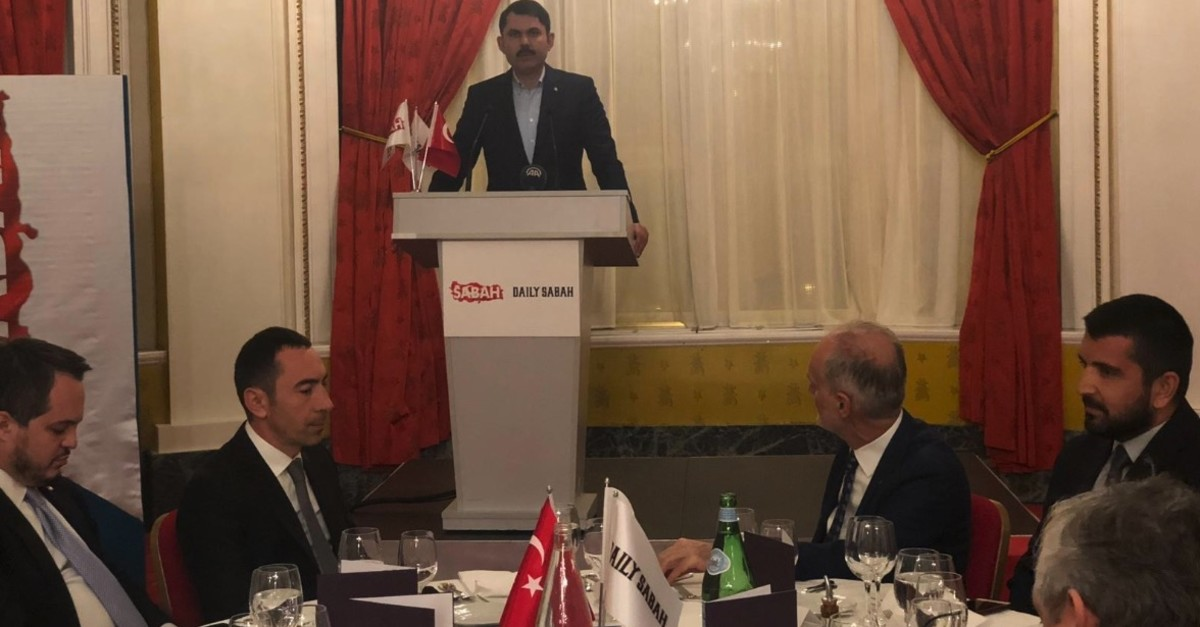 Environment and Urbanization Minister Murat Kurum speaks at an event organized by Daily Sabah, Nice, France, March 12, 2019.