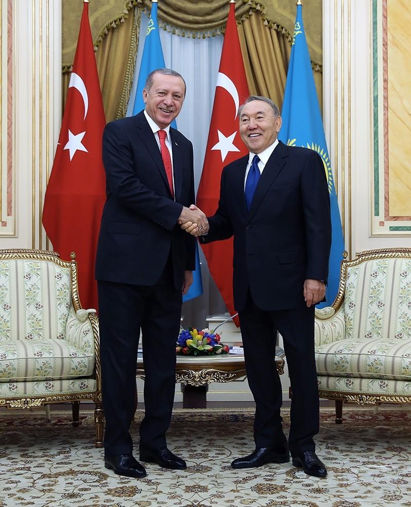 Turkish President Recep Tayyip Erdou011fan with Kazakh counterpart Nursultan Nazarbayev in September 2017 in Astana, Kazakhstan. (AA Photo)