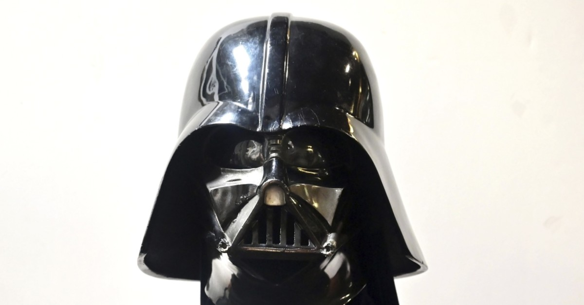 A Darth Vader helmet and mask from the film ,The Empire Strikes Back, on display at the Profiles in History auction house.