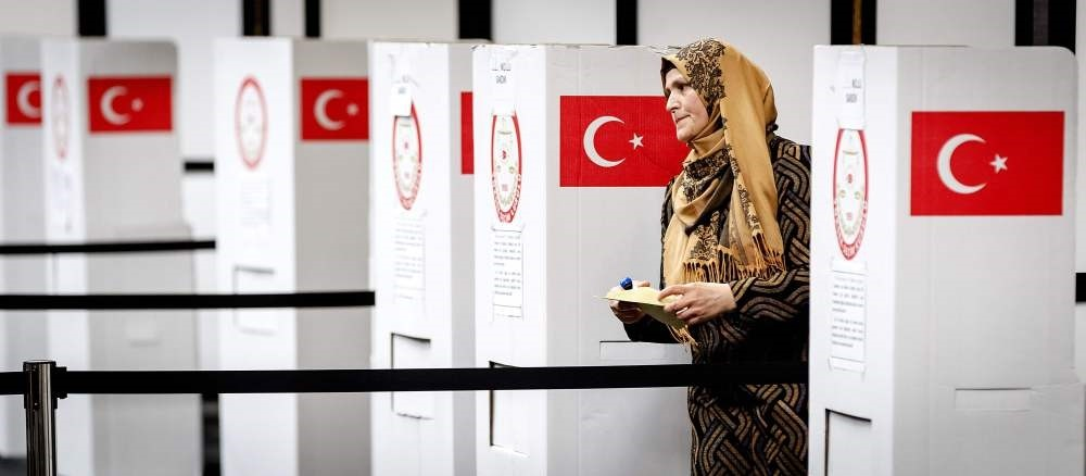 A Turkish voter standing at the polling station for the Turkish referendum in Deventer, Netherlands where the ,yes, vote was 71 percent.