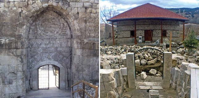 The Crown Gate (Taç Kapı) before (L) and after (R) the restoration.
