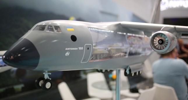 Макет военно-транспортного самолёта Ан-188, представленного на Eurasia Airshow в Антальи, Турция, в апреле 2018 года. (Фото: АА)