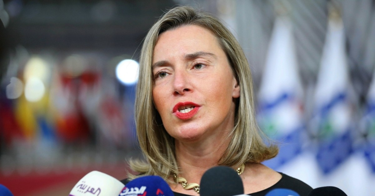 This file photo shows EU foreign policy chief Federica Mogherini speaking before a conference on Syria in Brussels, on Feb. 15, 2019. (AA Photo)