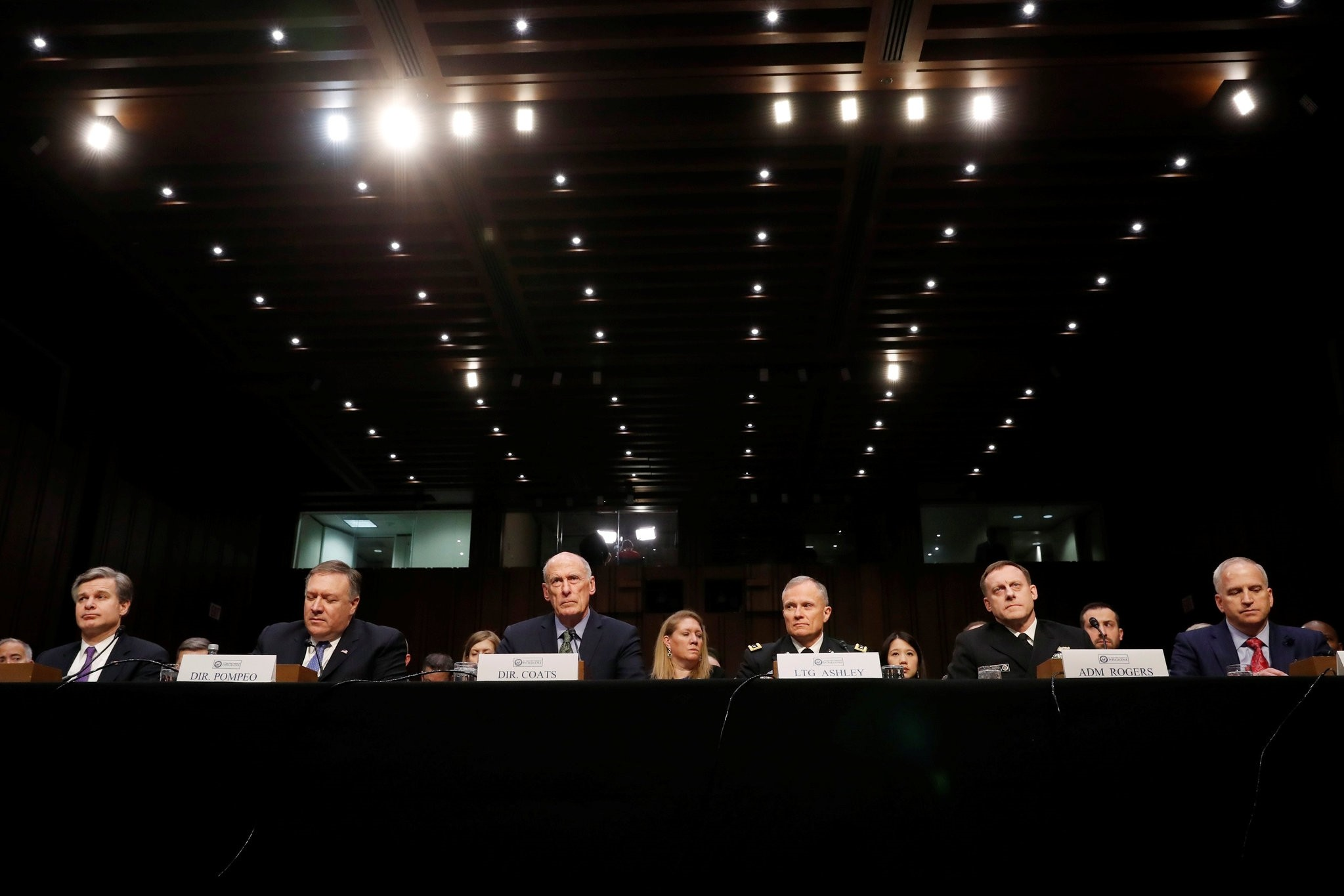 Director of National Intelligence Dan Coats (3L) testifies on worldwide threats during a Senate Intelligence Committee hearing on Capitol Hill in Washington, DC, February 13, 2018