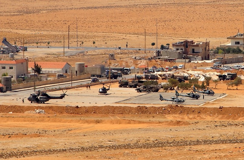 A general view taken on August 19, 2017, shows helicopters at a Lebanese military base in a mountainous area near the eastern town of Ras Baalbek (AFP Photo)