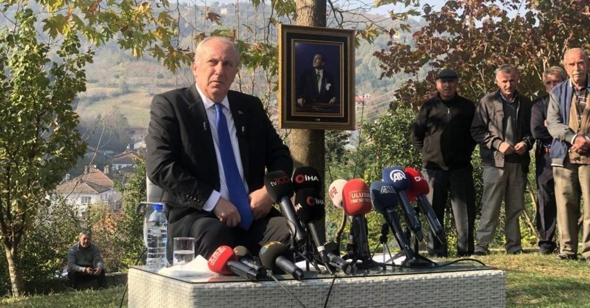 CHP's Muharrem ?nce speaks to reporters in Yalova province on Nov. 24, 2019. (IHA Photo)