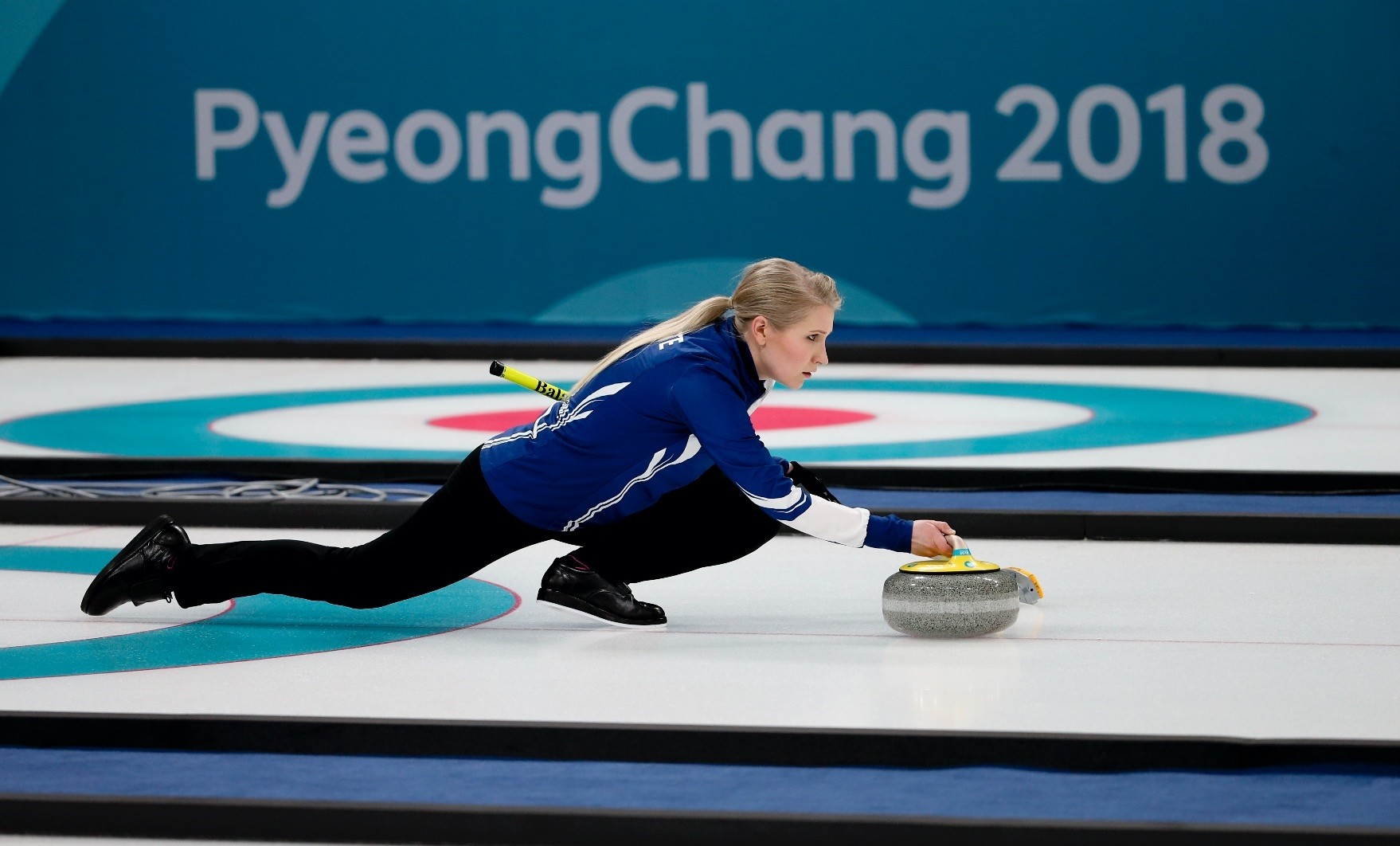Finlandu2019s Oona Kauste throws a rock while training ahead of the 2018 Winter Olympics in Gangneung, South Korea.