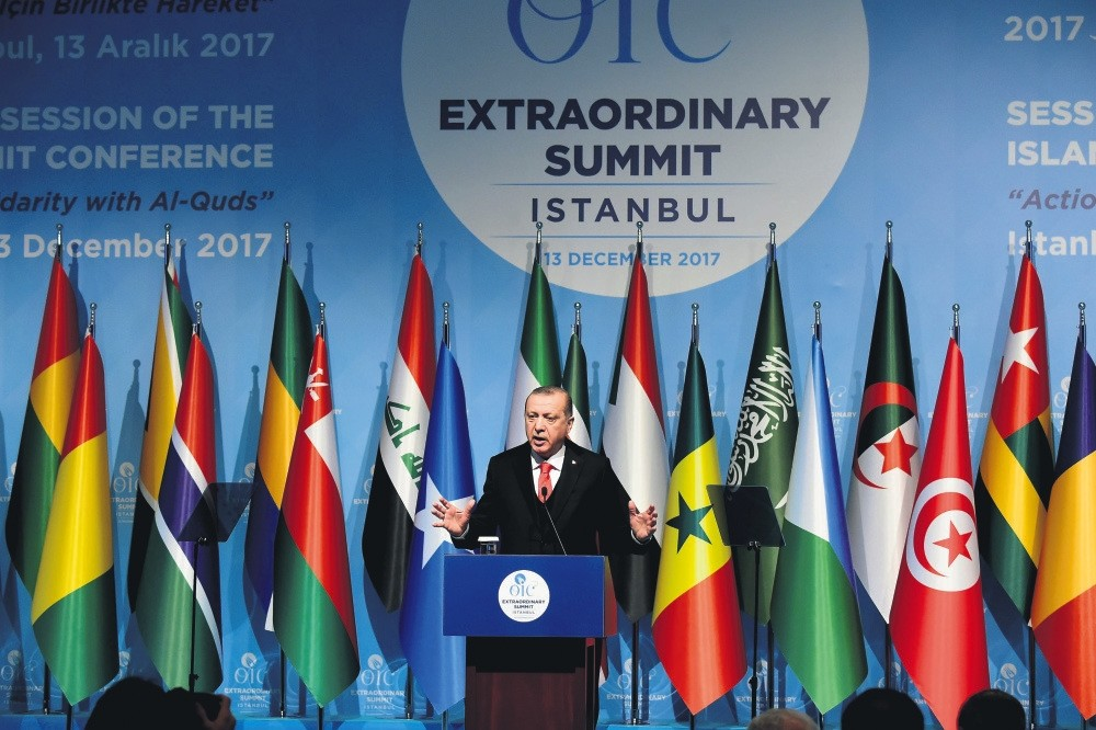 President Erdou011fan speaks during the OIC summit, Istanbul, Dec. 13.