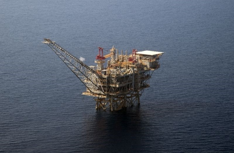 The Tamar Israeli gas-drill platform in the Mediterranean Sea off the coast of Israel.