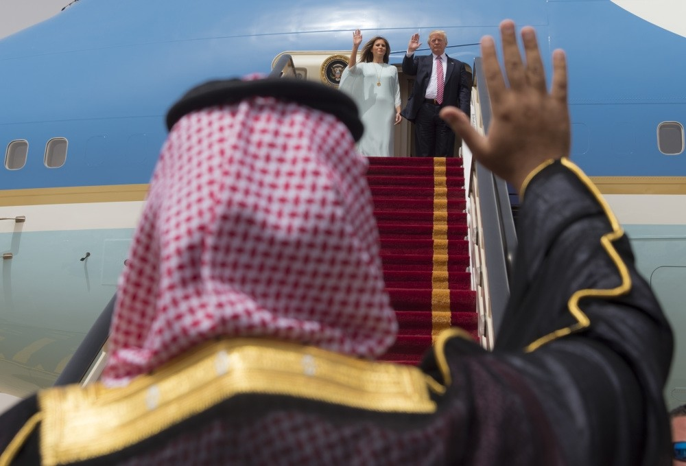 Saudi officials see off Donald and Melania Trump as they board Air Force One on May 22.