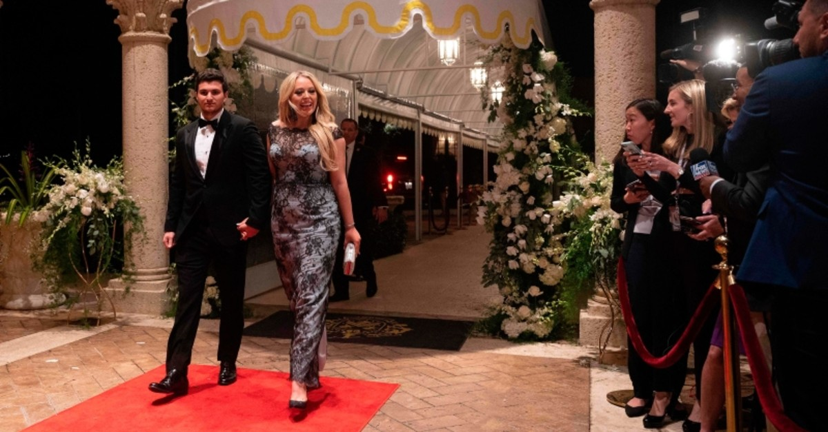 Tiffany Trump and her boyfriend Michael Boulos arrive for a New Year's celebration at Mar-a-Lago in Palm Beach, Florida, on December 31, 2019. (AFP Photo)
