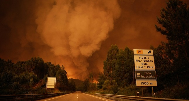 A smoke rises above trees during a forest fire in Pedrogao Grande, Leiria District, Center of Portugal, 17 June 2017. About 180 firemen, 52 land vehicles and 2 planes are fighting to extinguish the fire. (EPA Photo)