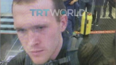 Terrorist Brenton Tarrant pictured at a Turkish airport in image published by TRT World
