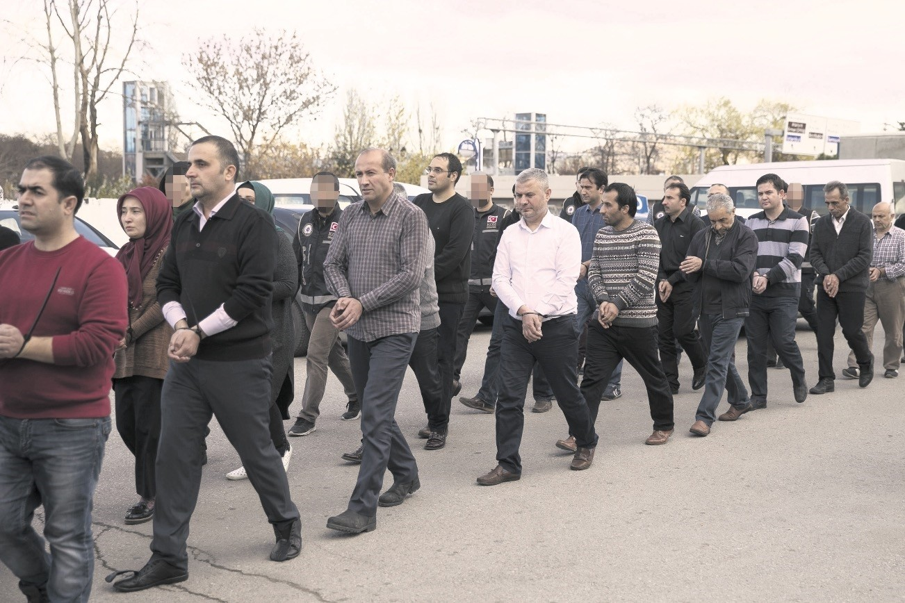 Police escort suspects to police headquarters in Ankara. The suspects were captured in the capital, Istanbul and two other cities.