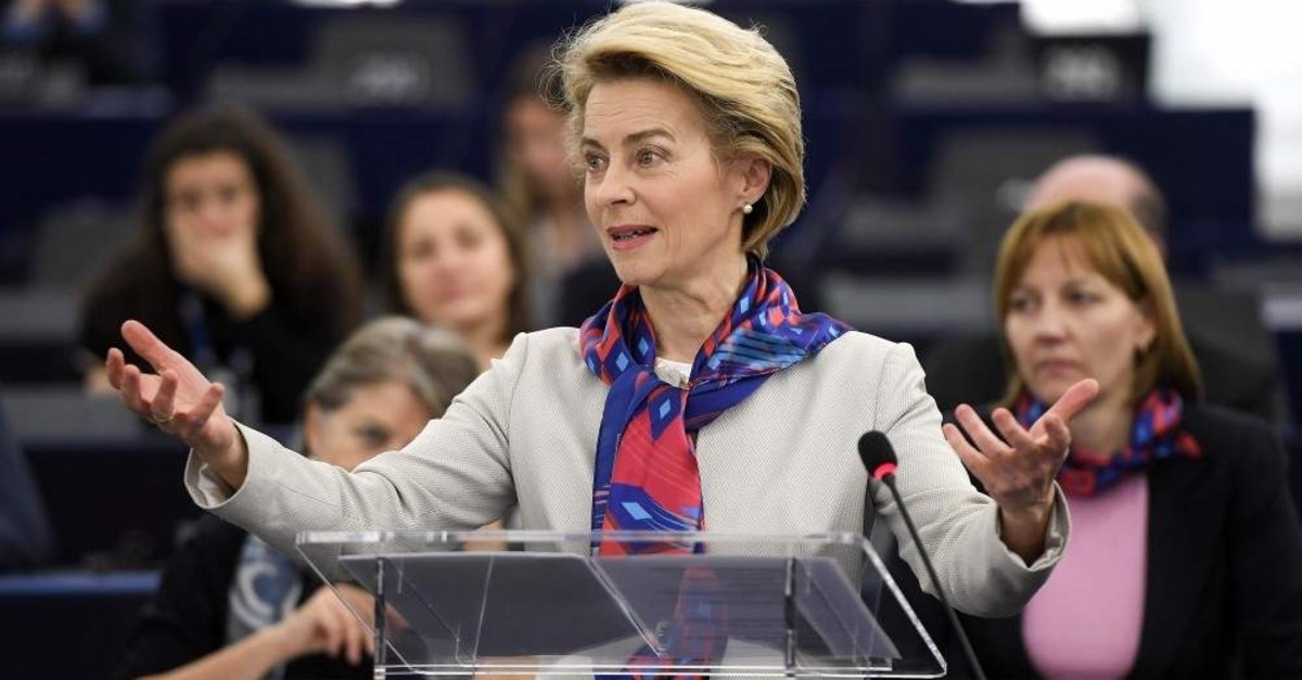 President of the European Commission Ursula von der Leyen gives a speech during the presentation of the priorities of the rotating Presidency of the Council for the next six months at the European Parliament on Jan. 14, 2020 in Strasbourg. (AFP Photo)