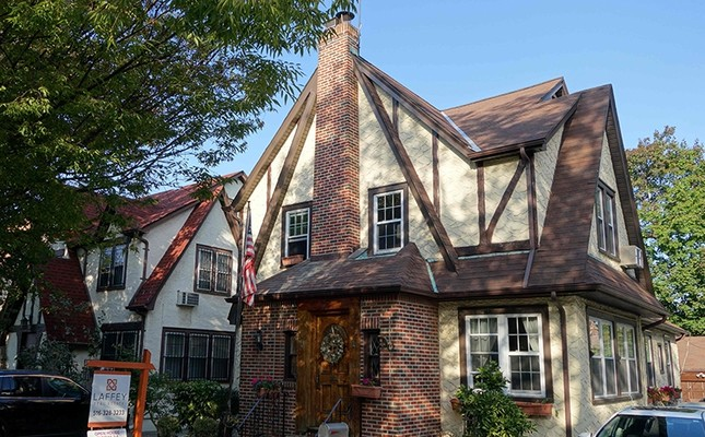 This file photo taken on October 19, 2016 shows the first childhood home of US presidential contender Donald Trump in New York (AFP Photo)