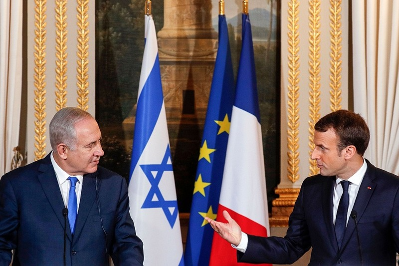 French President Emmanuel Macron and Israeli Prime Minister Benjamin Netanyahu attend a joint news conference at the Elysee Palace in Paris, France Dec. 10, 2017. (Reuters Photo)