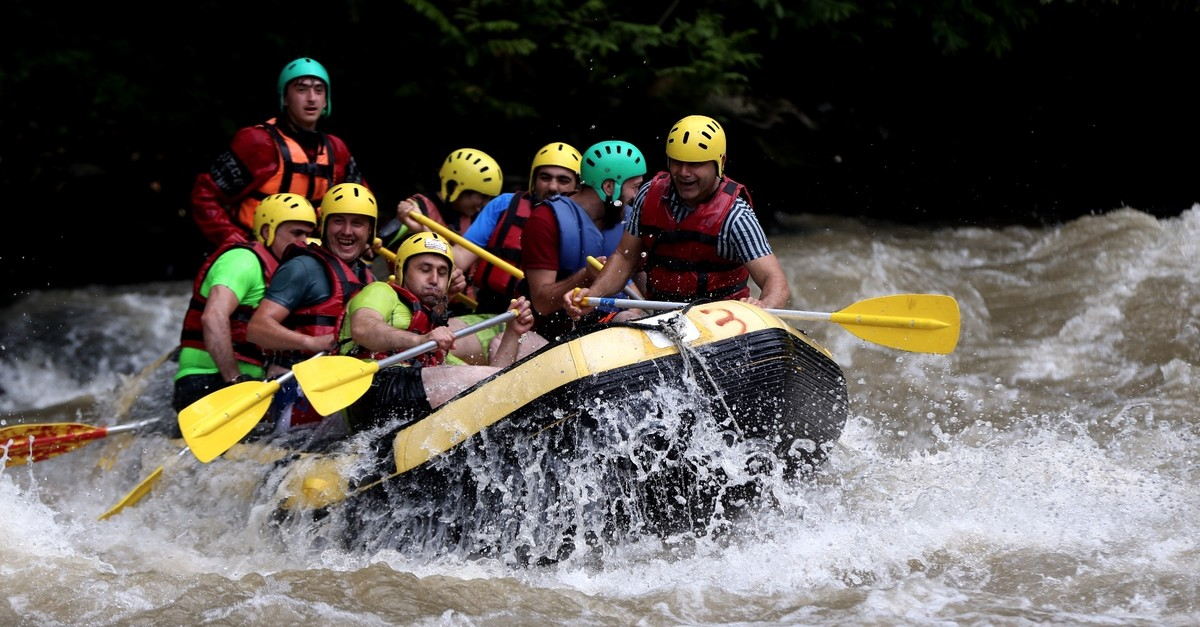 Tourists, coming mainly from Qatar, Saudi Arabia and Iraq spend their times on the 13-kilometer-long rafting course along Melen Stream.