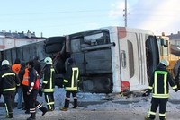 A bus carrying 44 students overturned across a terminal in the Chinabeyli district of Turkey's central province of Konya due to ice, killing two students and injuring 42 others on Friday...