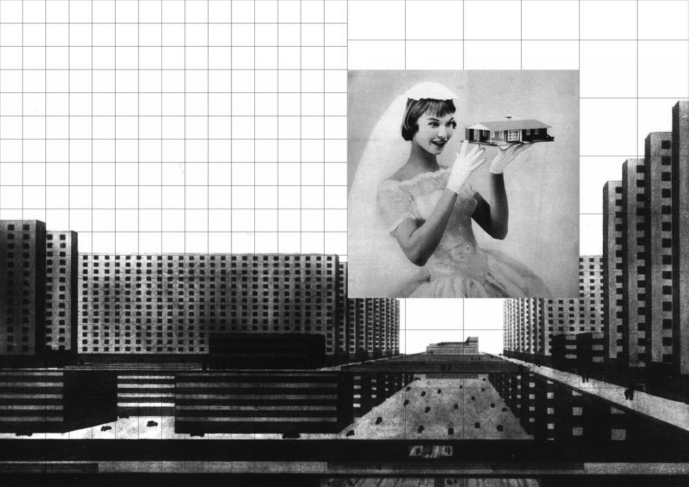 Mona Mahall - Aslu0131 Serbest, collage, 2018 Rendering of Ludwig Hilberseimeru2019s u201cCity of Scyscrapersu201c (1924) / u201cPost-War Brideu201c (1956).