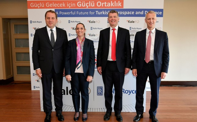 Kale Group Vice President Osman Okyay (L), Kale Group President Zeynep Bodur Okyay, UK's Ambassador to Turkey Richard Moore and Rolls-Royce Defense Aviation Unit President Chris Cholerton pose for a picture during the press conference.