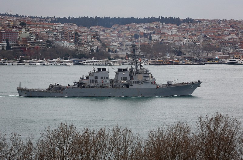 U.S. Navy guided-missile destroyer USS Porter sails in the Bosphorus, on its way to the Mediterranean Sea, in Istanbul, Turkey (Reuters Photo)
