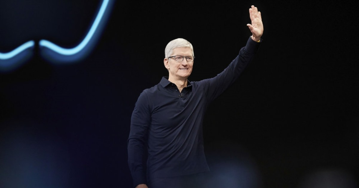Apple CEO Tim Cook presents the keynote speech during Appleu2019s Worldwide Developers Conference in San Jose, California, June 3, 2019.
