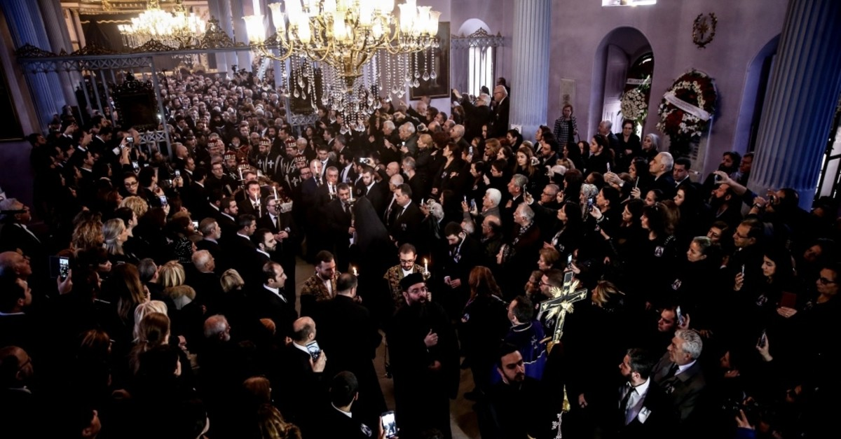 Mourners attended the funeral ceremony for the late patriarch at Surp Asdvadzadzin church, March 17, 2019.