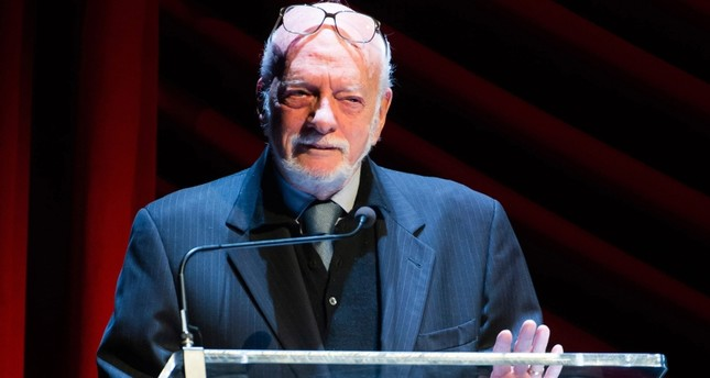 In this Nov. 17, 2014 file photo, Harold Hal Prince appears on stage at Everybody, Rise! A Celebration of Elaine Stritch in New York. (AP Photo)