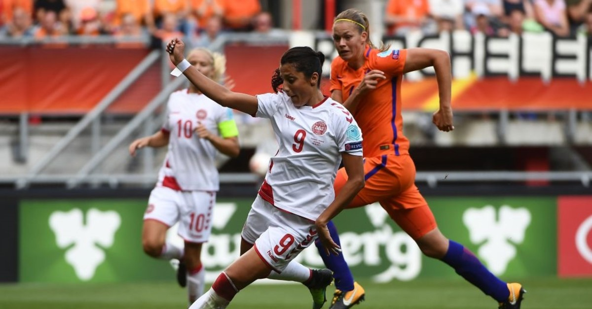Nadia Nadim controls the ball during the UEFA Women's Euro 2017 football tournament final in Enschede, Netherlands, Aug. 6, 2017.