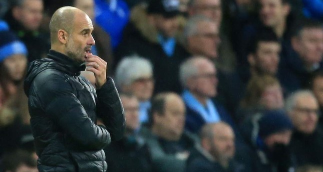 Manchester City's manager Pep Guardiola reacts during the Premier League match between Manchester City and Southampton, Manchester, Nov. 2, 2019. AFP Photo
