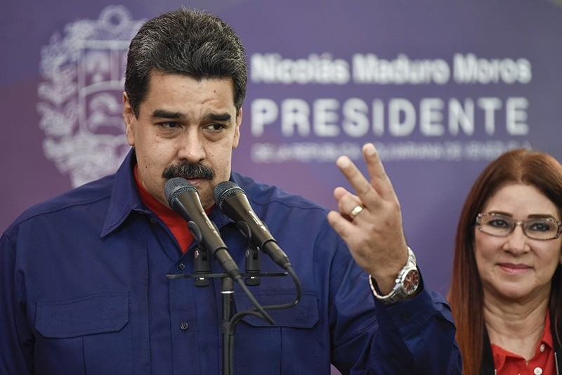 Venezuelan President Nicolas Maduro addresses supporters following his socialist party's victory in mayoral elections Sunday, Dec. 10, 2017. (AA Photo)