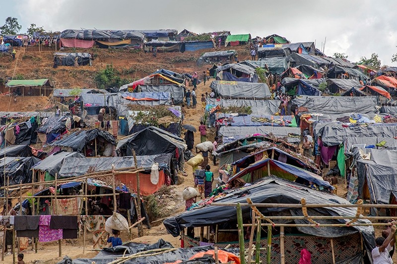 Newly set up tents cover a hillock at a refugee camp for Rohingya Muslims, who crossed over from Myanmar into Bangladesh, in Taiy Khali, Bangladesh, Sept. 22, 2017. (AP Photo)