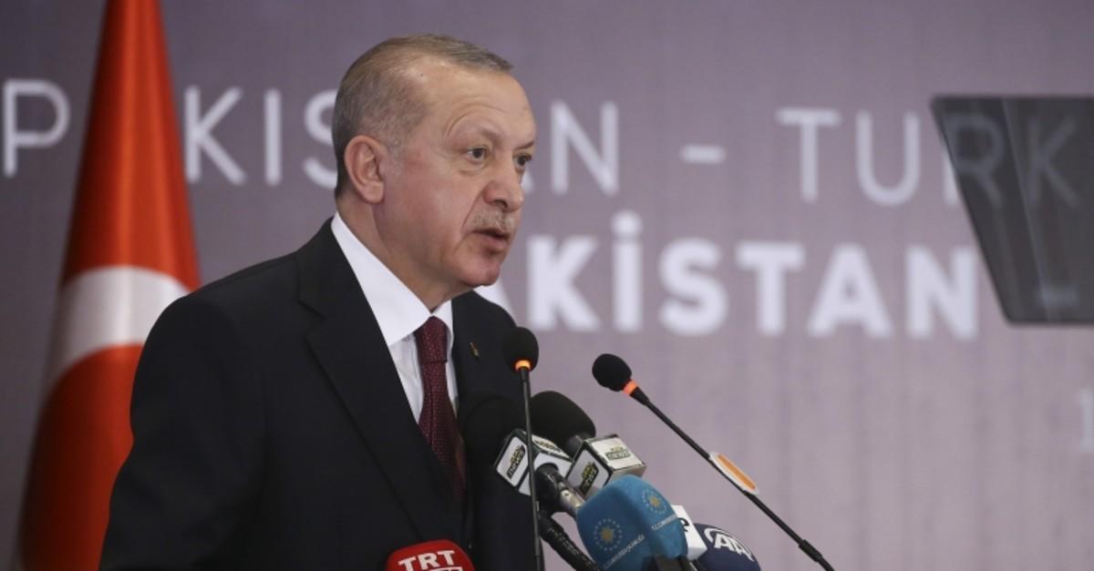President Recep Tayyip Erdou011fan speaks at the Turkey-Pakistan Business Forum in Pakistani capital Islamabad on Friday, Feb. 14, 2020. (AA Photo)