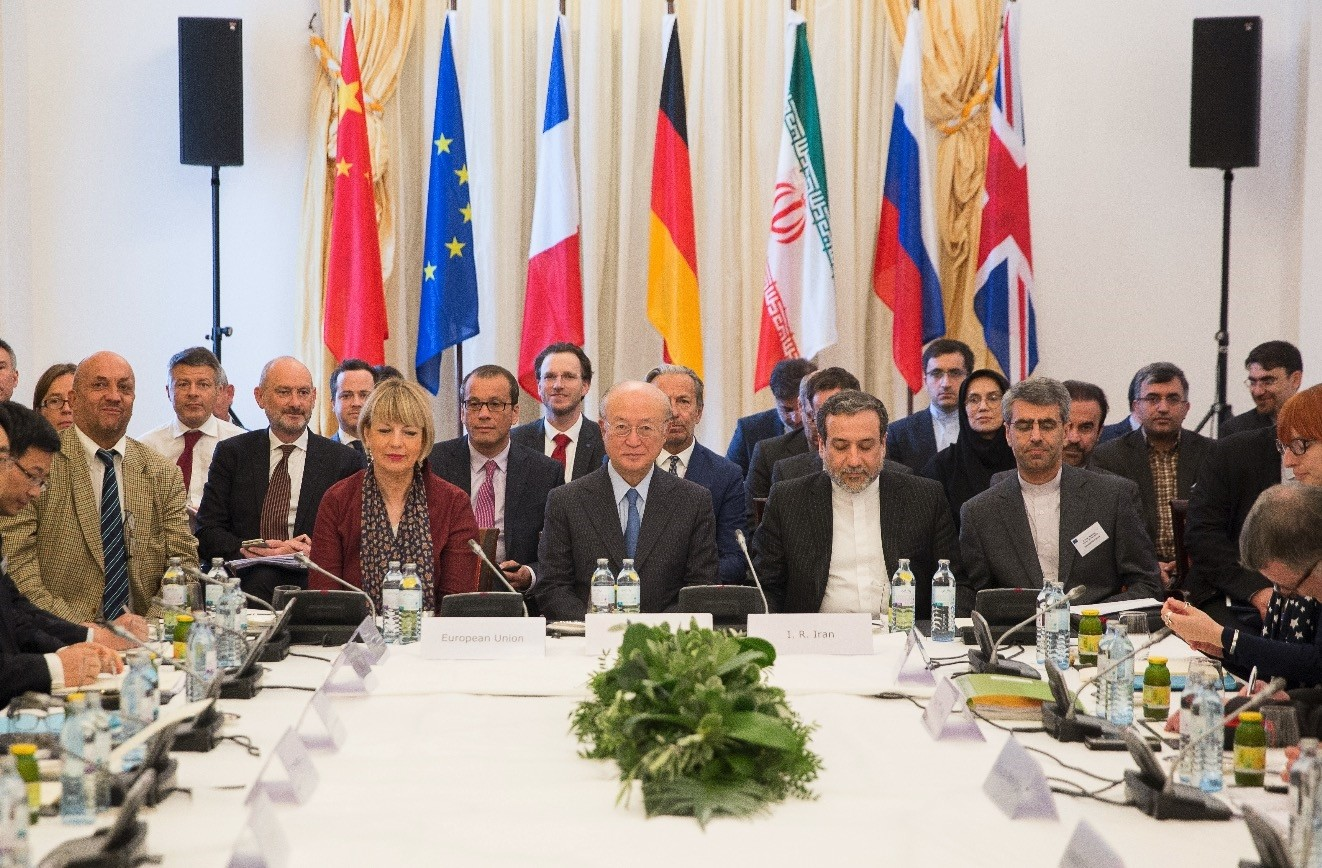 Members of the Joint Comprehensive Plan of Action (JCPOA) commission attend a meeting at the Palais Coburg in Vienna, May 25, 2018.