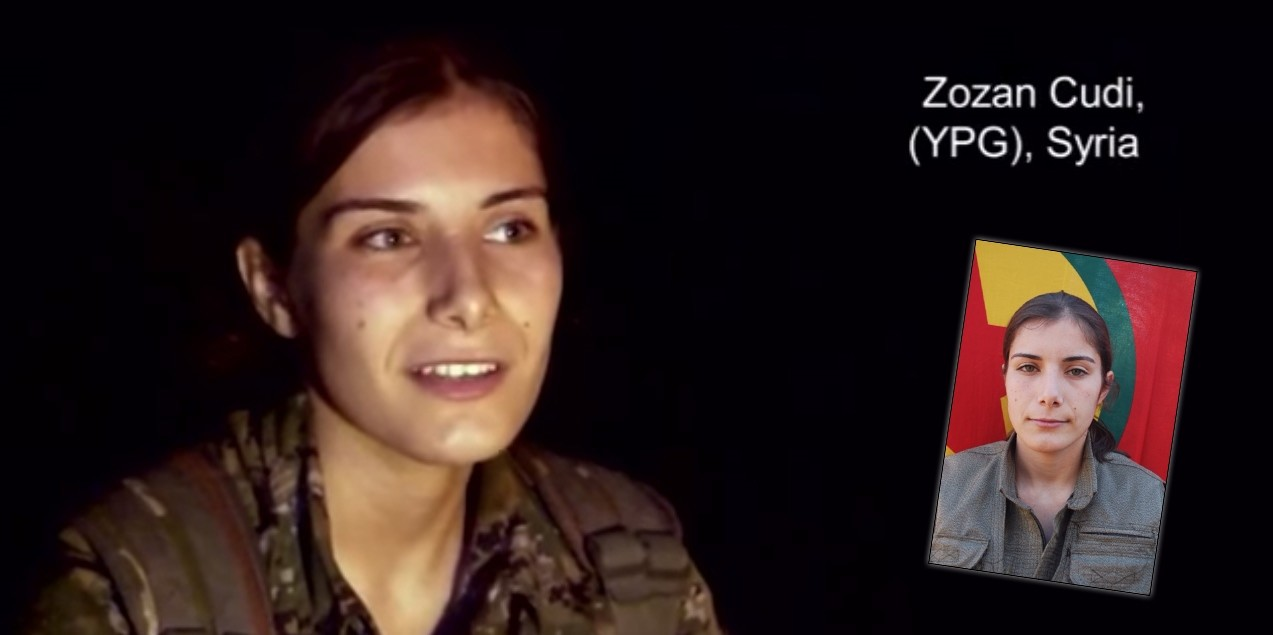 Zozan Cudi in the ranks of PYD (L) and the PKK (R)
