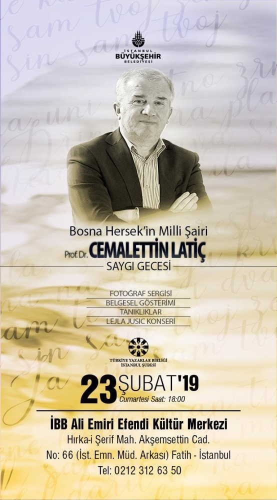 Poster reads ,Homage Night to Cemalettin Latic, the national poet of Bosnia.,
