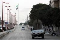 علم الثورة السورية يحفق على مشارف مدينة تل أبيض (الأناضول)