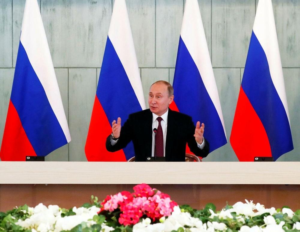 Russian President Vladimir Putin speaks in St. Petersburg, March 16. (EPA Photo)